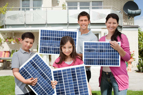 Stock photo: Family With Solar Panels