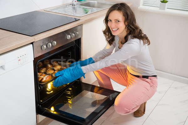 Woman Baking Bread Roll Stock photo © AndreyPopov