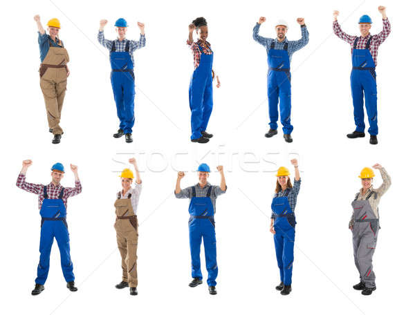 Collage Of Construction Workers Raising Arms Stock photo © AndreyPopov