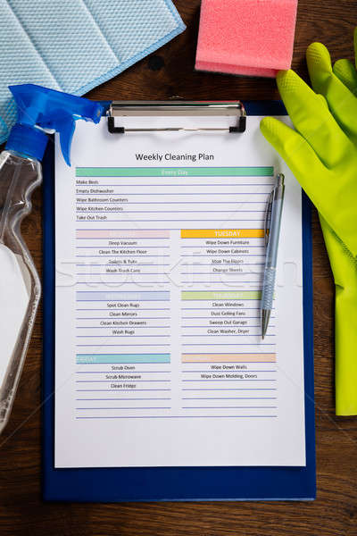 High Angle View Of Weekly Cleaning Plan Form Stock photo © AndreyPopov