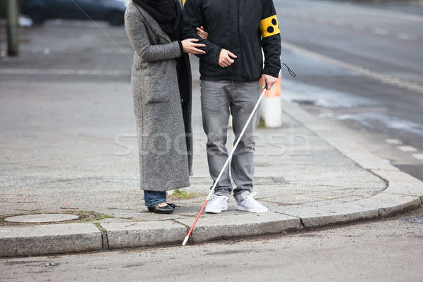 Woman With A Blind Man On Street Stock photo © AndreyPopov