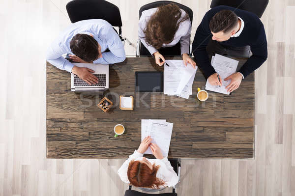 Trabajo entrevista grupo empresarial reclutamiento mujer Foto stock © AndreyPopov