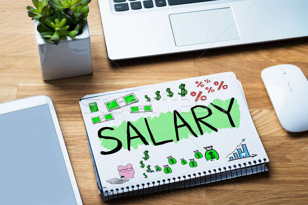 Salary Word In Notepad Stock photo © AndreyPopov