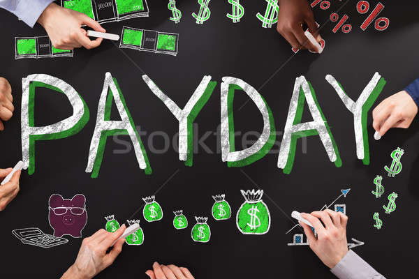 Betaaldag werknemer groep mensen tekening handen team Stockfoto © AndreyPopov