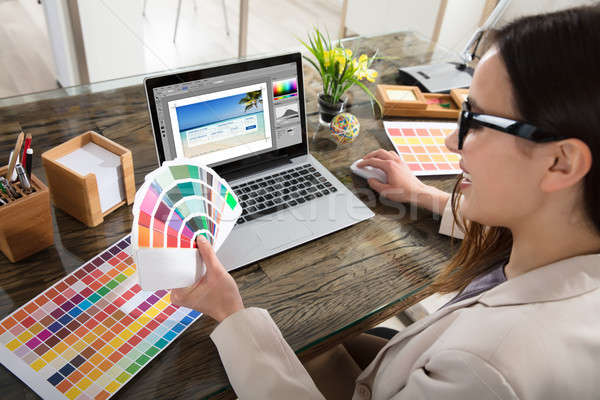 Designer Holding Colour Swatches In Her Hand Stock photo © AndreyPopov