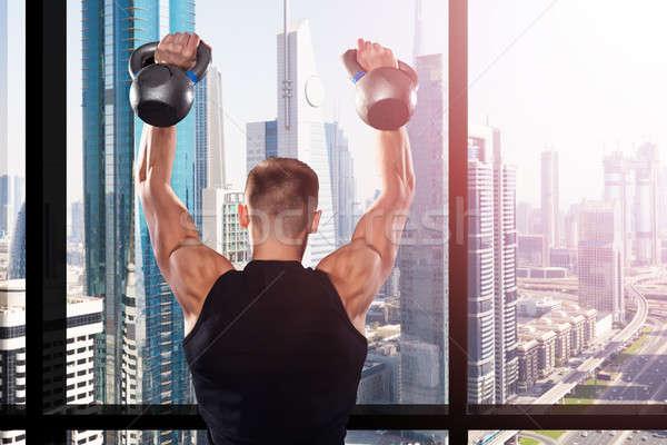 Сток-фото: подготовки · спортзал · мышечный · человека · окна