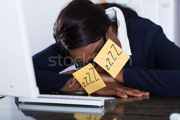 Sleeping Woman Covering Her Eyes With Adhesive Notes Stock photo © AndreyPopov