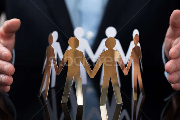 üzletember papír kivágás emberek közelkép kéz asztal Stock fotó © AndreyPopov