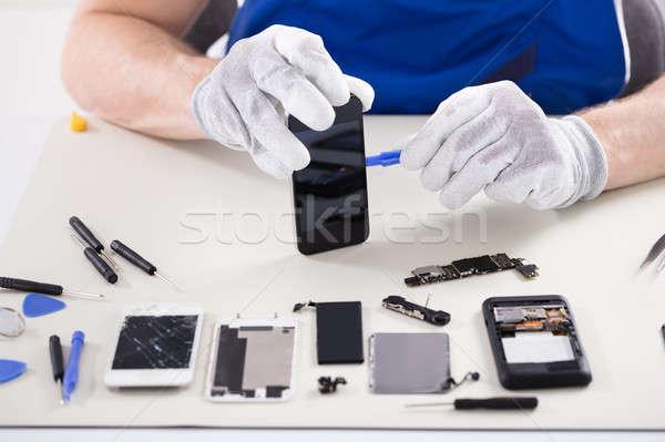 人の手 スマートフォン クローズアップ 電話 ストックフォト © AndreyPopov