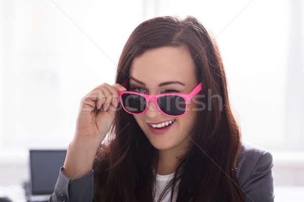 Businesswoman Wearing Pink Sunglasses Stock photo © AndreyPopov