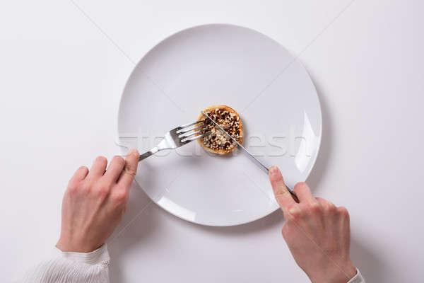 Hand vers voedsel plaat witte voedsel Stockfoto © AndreyPopov