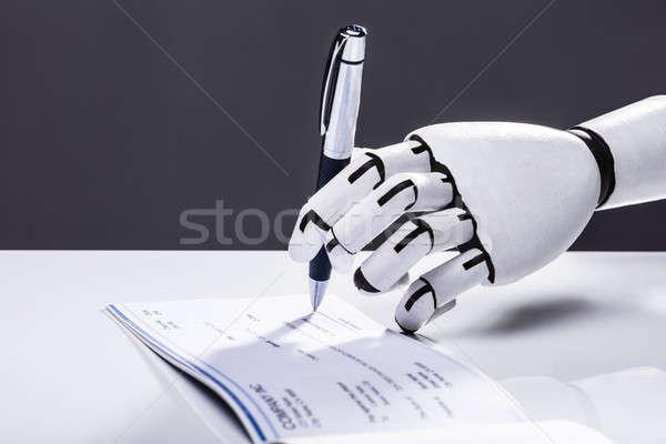 Robot aláírás csekk fotó kéz toll Stock fotó © AndreyPopov