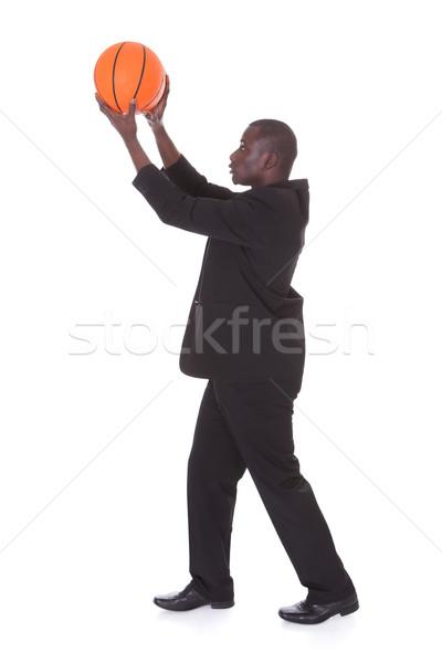 Işadamı basketbol portre genç Afrika Stok fotoğraf © AndreyPopov