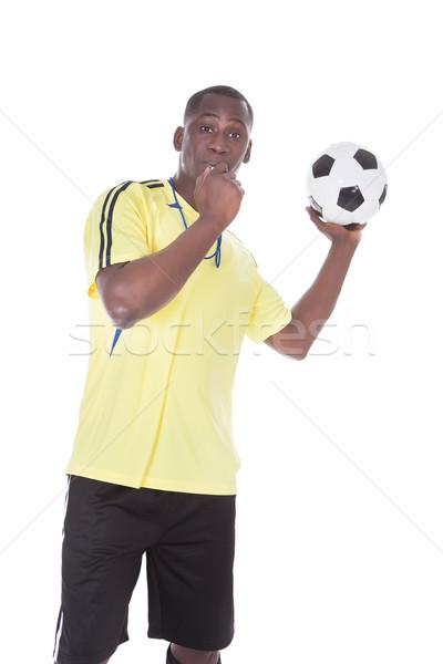 Futbol hakem top ıslık ağız Stok fotoğraf © AndreyPopov