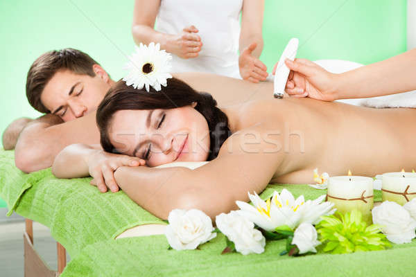 Woman Receiving Microdermabrasion Therapy At Beauty Spa Stock photo © AndreyPopov