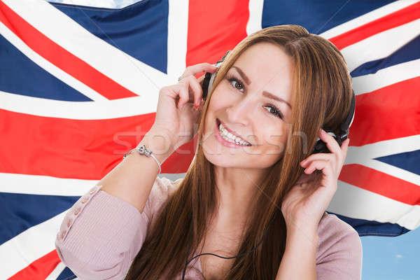 Vrouw luisteren Engels taal leren Stockfoto © AndreyPopov