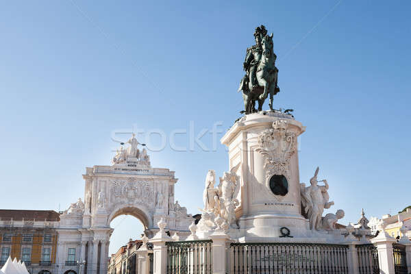 Statue Of King Jose I And Rua Augusta Arch Stock photo © AndreyPopov