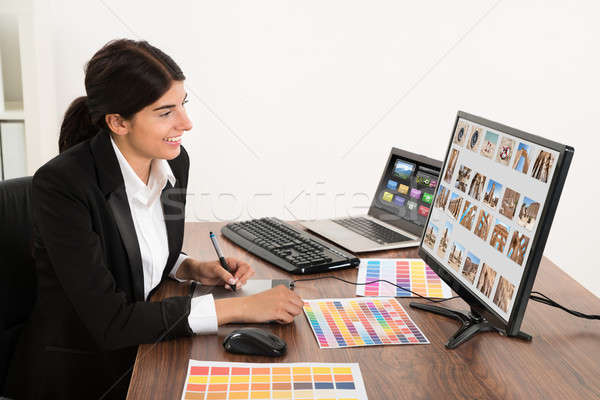 Stock photo: Female Graphic Designer In Office