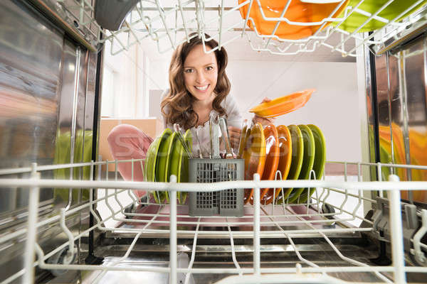 Woman With Plate View From Inside The Dishwasher Stock photo © AndreyPopov