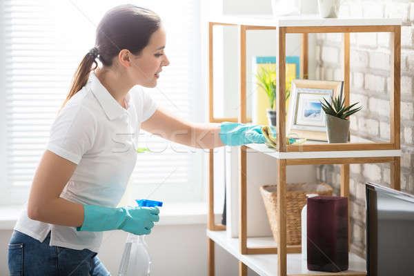 Genç kadın temizlik raf ev ahşap oturma odası Stok fotoğraf © AndreyPopov
