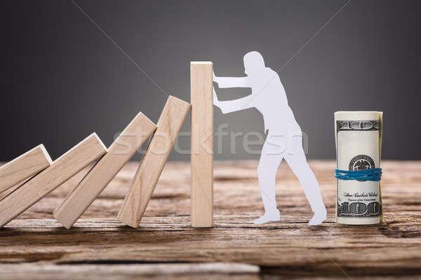Papel homem dominó blocos Foto stock © AndreyPopov