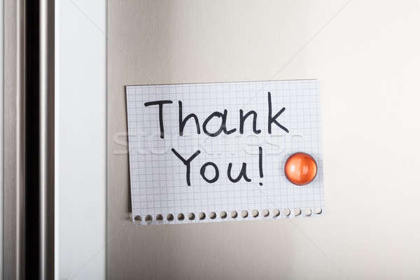 Thank You Note Attached With Orange Magnetic Thumbtack Stock photo © AndreyPopov