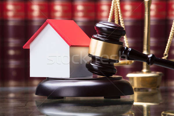 Close-up Of Gavel And House Model Stock photo © AndreyPopov