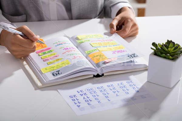 Empresária agenda pessoal organizador Foto stock © AndreyPopov