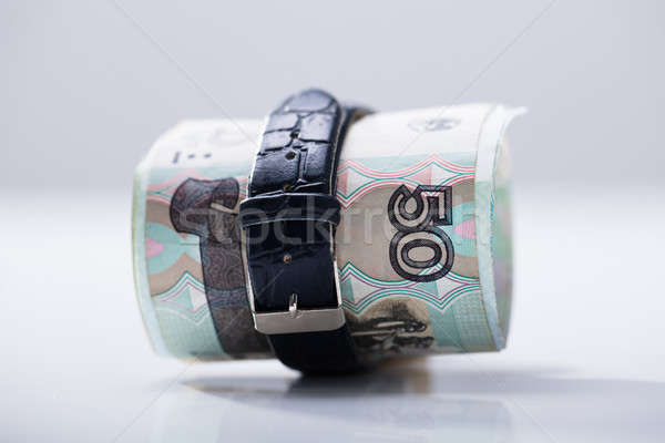 Rolled Up Russian Rubles Tied With Belt Stock photo © AndreyPopov