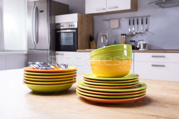 Close-up Of Stacked Plates And Bowls Stock photo © AndreyPopov
