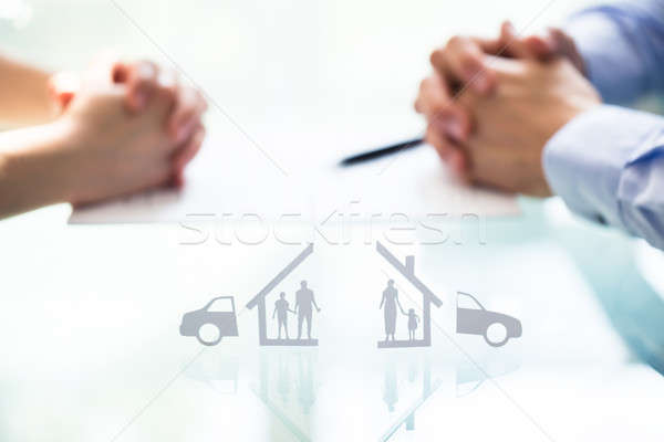 Close-up Of The Split Paper Cutout Family And Car Stock photo © AndreyPopov