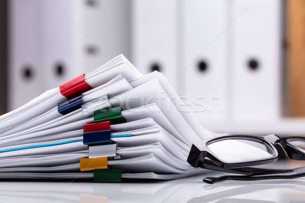 Сток-фото: документы · очки · красочный · бумаги · письме