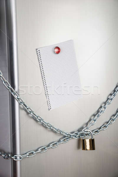 Blank Note Of Locked Fridge Stock photo © AndreyPopov