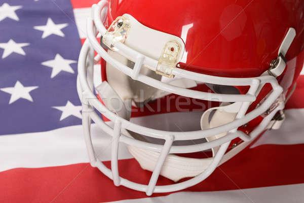 Stockfoto: Rood · amerikaanse · voetbal · helm · Amerikaanse · vlag · vlag