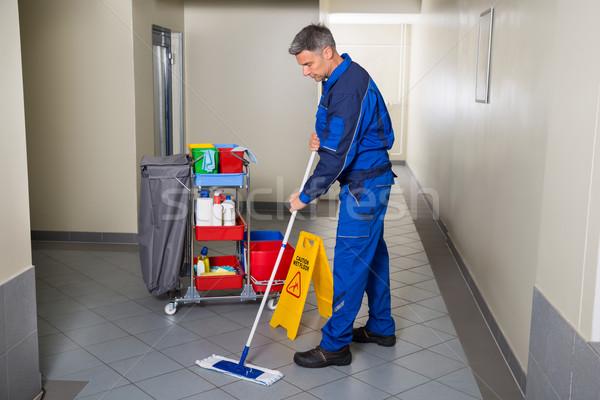 мужчины работник метлой очистки коридор Сток-фото © AndreyPopov