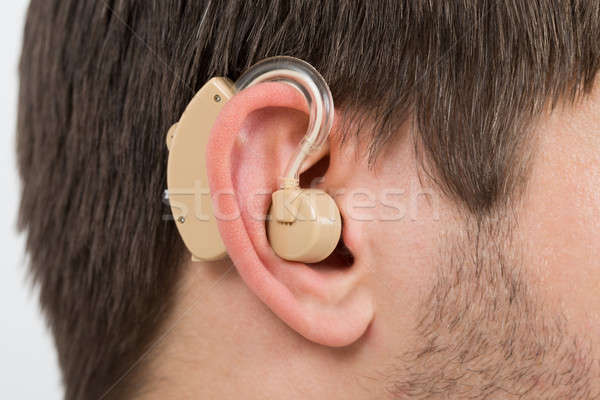 Stock fotó: Fül · hallókészülék · közelkép · fotó · orvosi · otthon