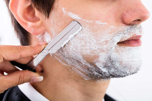 Fodrász szakáll közelkép jelentkezik nő divat Stock fotó © AndreyPopov