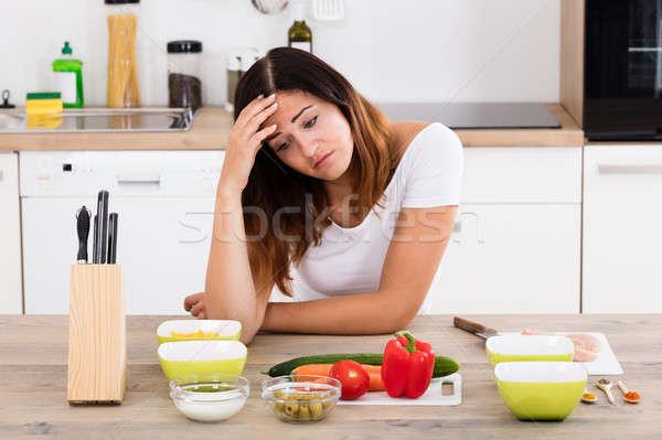 несчастный женщину кухне молодые различный ингредиент Сток-фото © AndreyPopov