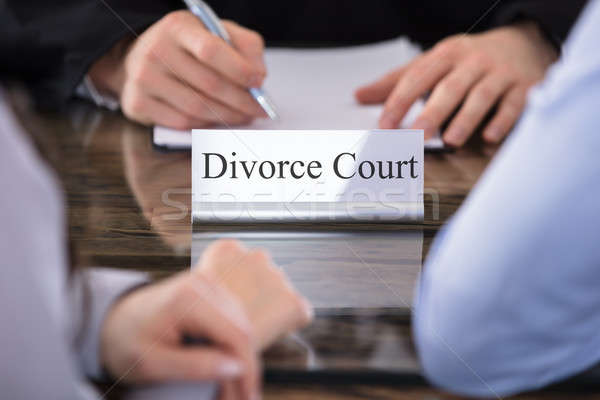 Divorce Court Name Plate On Desk Stock photo © AndreyPopov