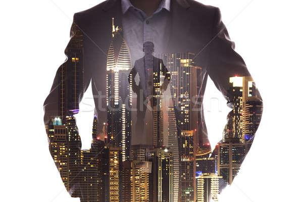 Double Exposure Of Businessman Superhero With Red Cape Stock photo © AndreyPopov