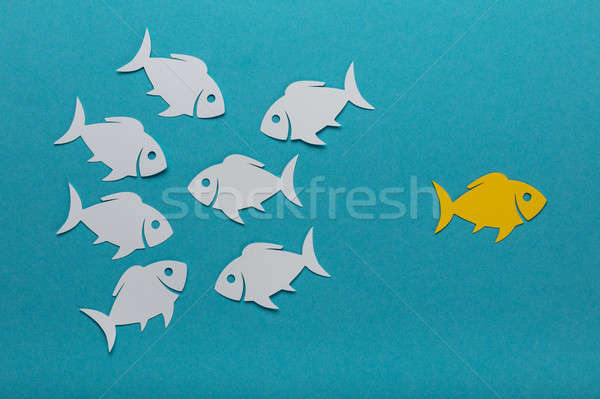 Stock photo: Yellow Fish With White Paper Fishes