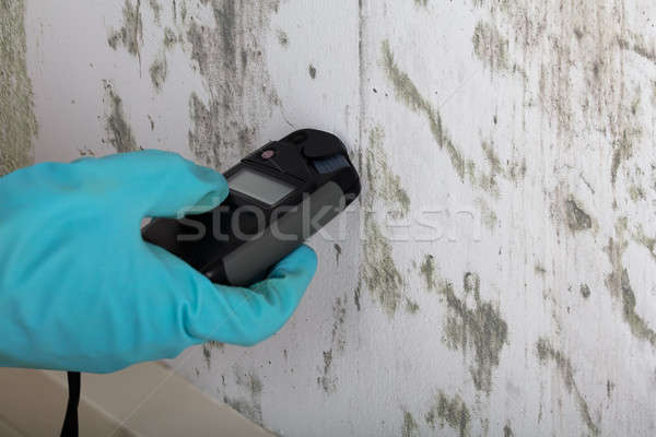 Person's Hands With Gloves Measuring Wetness Stock photo © AndreyPopov