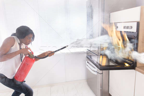 Woman Using Fire Extinguisher To Stop Fire Coming From Oven Stock photo © AndreyPopov