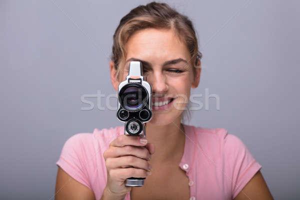 女性 見える レンズ レトロな カメラ クローズアップ ストックフォト © AndreyPopov