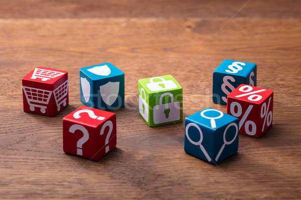 Colorful Social Symbols On The Wooden Blocks Stock photo © AndreyPopov