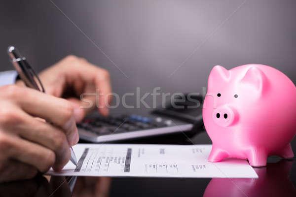 Bill hand roze spaarvarken pen Stockfoto © AndreyPopov