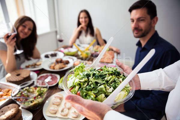 Stockfoto: De · ober · kom · salade · nieuwe