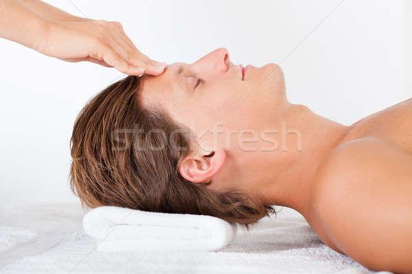 Сток-фото: человека · голову · массаж · портрет · молодым · человеком · Spa