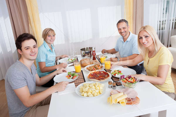 Family eating a cold lunch Stock photo © AndreyPopov