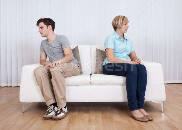 Stock photo: Brother and sister arguing